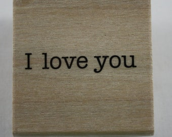 I Love You Rubber Stamp Valentine Wooden Stamp New