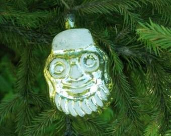 Christmas Santa ornamets Sants head Xmas ornments vintage christmas decoration Saint Nick Ornament vintage 70s golden decor glass ornament