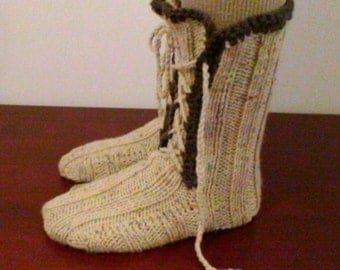 Exclusive!! Wool Socks Slippers Hand Knitted Gift Box,Booties Style,Kids Slippers,Kids Socks Boy,Wool Socks Men Slippers,Handmade,UK Seller