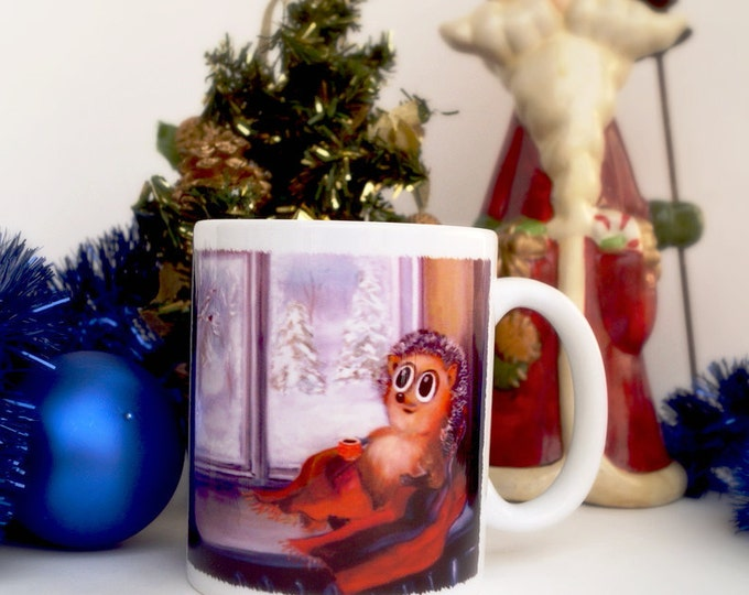 Unique Coffee Mug - Merry Christmas, hedgehog Timothy teacup - funny ceramic cup - cute mug - Christmas gift - Gifts for Others