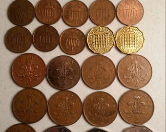32 great britain vintage coins 1964 - 1995  - coin lot pence - world foreign collector money numismatic a64