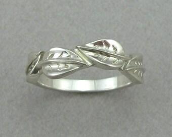 Leaves Gold Wedding Band Leaf Ring White