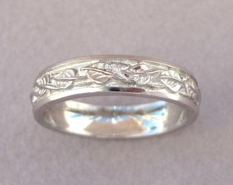 Nature Wedding Band, Wedding Band For Men, Leaf Nature Ring, Leaves wedding ring, Vine wedding Band, Wide Wedding Band, Uniqe Wedding Band