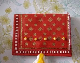 Purse with beads and Tasseln wallet Orange, yellow, white, pink & gold ethno Morocco vintage boho Geschenlk girl girlfriend girls