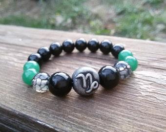 Capricorn bracelet Custom Zodiac bracelet Personalized Kids bracelet for boy Custom initials jewelry January Birthday bracelet gift for boy