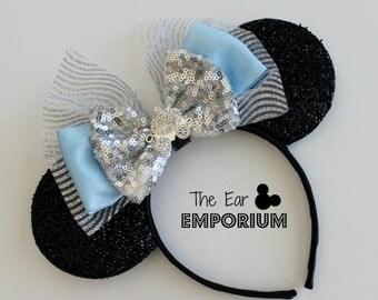 Cinderella Carriage Inspired Mouse Ears Headband ~ Rhinestone Carriage, Blue, Glass Slipper
