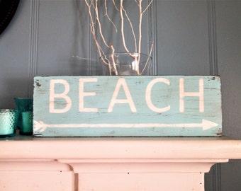 Beach sign coastal wood plaque nautical wall art decoration