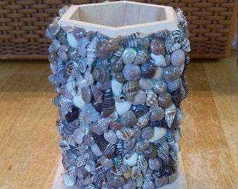 Beautiful seashell adorned pencil holder