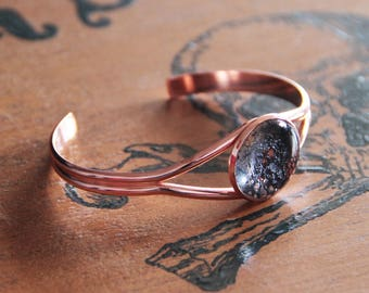 Bracelet ring cabochon rose gold lace and glass