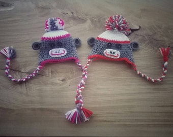 Sock Monkey Hat, Available in sizes from 0-24 months