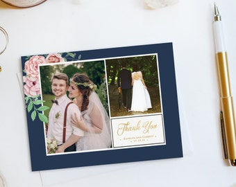 Wedding Thank You Card, Custom Photo Wedding Thank You Cards Gold Foil Wedding Thank You Cards Vintage Gold Foil Wedding Cards Katelyn6