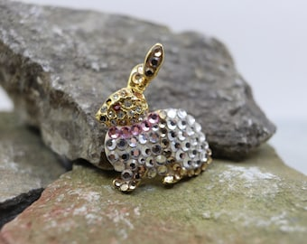 Retro Sparkling bunny brooch pin, Easter bunny brooch, Easter brooch,  estate brooch, estate jewelry