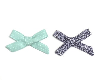 Leopard Bow // Small Bows // Baby Bow Set // Navy Bow // Baby Gift // Baby Shower // Green Bow