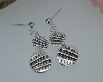 Silver Earrings, Dangly Earrings, Drop Earrings, Shell earrings, abstract texture earrings, stud earrings, silver check design, (UK)