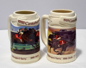 Set of 2 Vintage Canterbury Beer Mugs from 1988 and 1989/Equestrian Collectible Steins/ Collectible Mugs