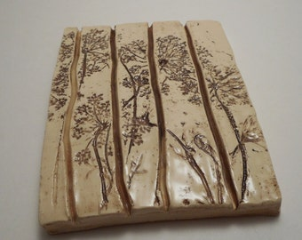 Queen Anne's Lace Ceramic Soap/Sponge Dish, Handmade Pottery, Hand Painted (S0011)