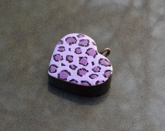 Purple Leopard print Heart Charm