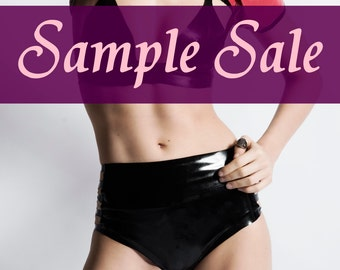 Latex panties black with stripes - size small - sample sale - ready to ship