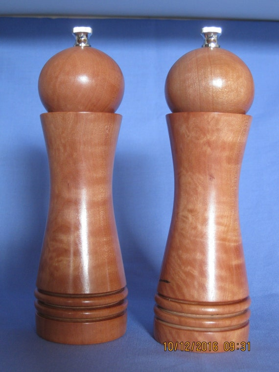 Handcrafted unique pair of salt pepper grinder mills - Novelty pepper grinder ...
