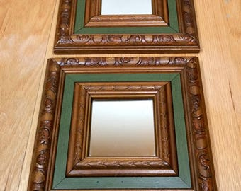 ACCENT MIRROR Vintage Small Wall Mirror Retro 1970s Wood with Olive Green 9.5 inch Square
