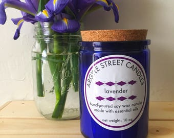 SALE: Soy Candle Essential Oil Lavender Glass Container Candle Handmade