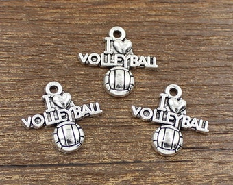 20pcs I Love Volleyball Charms Antique Silver Tone 20x21mm - SH227