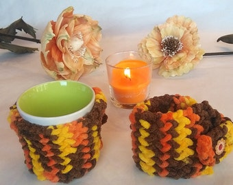 mug cozy, cup cozy,  mug sweater, mug holder, coffee cozy, autumn color, tazza cozies, yellow, brown