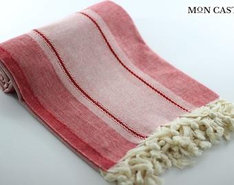 Kimolos | Red | Natural | Turkish Towel | Peshtemal | Bath Towel | Wedding Gift | Bridesmaid Towel | Home Decor