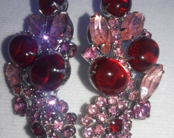 Pink Rhinestone and Red Jelly Juliana Art Glass Rhinestone Large Vintage Silver Plated Pierced Earrings