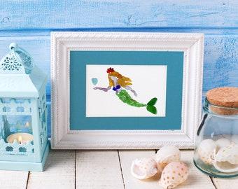 "Sea Glass Mermaid Print - 8x10"" mat with 5x7"" seaglass mosaic print"