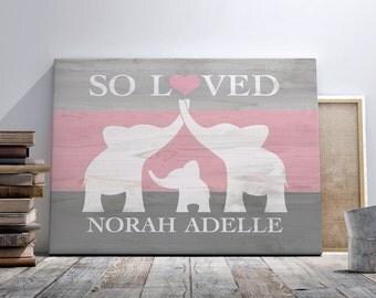 Elephant nursery art etsy personalized nursery animal print custom name sign elephant nursery art canvas wall art negle Images