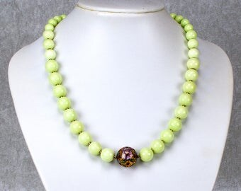 Green Lemon Chrysoprase Necklace with Cloisonné Ball