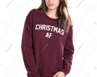 "Unisex - Men/Women - Premium Retail Fit ""Christmas AF"" Crewneck Sweatshirt"