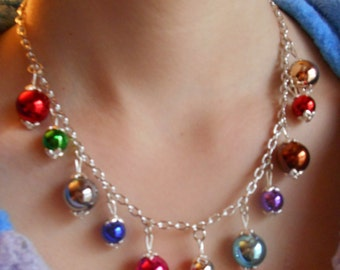 Christmas bulb necklace,ornament necklace,multi color beaded necklace