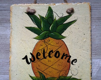 Hand Painted Primitive Welcome Pineapple Recycled Roof Slate Sign from West Virginia