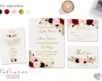 Marsala Wedding Invitation Suite Burgundy Pink Digital Gold Letters Bohemian Wedding Invite Set Floral Printable Wedding Invite - WS018