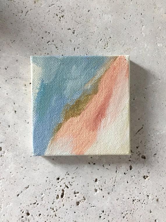 Mini abstract painting, original acrylic, desk painting, peach, cream, gold and blue, inspirational art, handmade