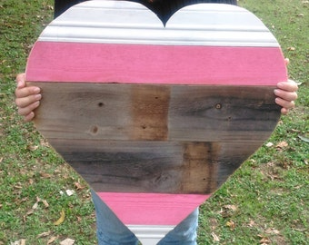 Large Wood Heart, Wood Heart Sign, Wood Heart,Heart Decor,Big Pink Wooden Heart decor, Heart,Wedding Heart,Pallet Heart, Rustic Heart, Heart