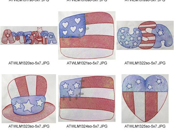 Mylar-USA-5x7 ( 10 Machine Embroidery Designs from ATW )