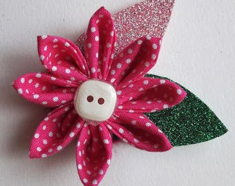 Kanzashi Flower Brooch - Spotted