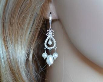 LAST ONE Handmade Vintage Inspired Crystal Rhinestone and Pearl Chandelier Earrings, Wedding, Bridal (Pearl-129)