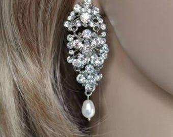 LAST ONE Vintage Inspired Crystal Rhinestone and Pearl Chandelier Dangle Earrings, Bridal, Wedding (Pearl-250)