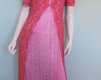 60s Lace Pleated Maxi Dress, Bright Pride & Prejudice Dress, Scoop Neck Jane Austin Style Dress, Coral Pink Long Frock, Regency Hippy, Small