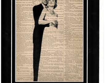 Cary Grant and Grace Kelly vintage dictionary art