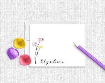Floral Stationery, Personalized Stationery, Personalized Stationary, Floral Note Cards,  Stationery Set, Custom Stationery, Spring, FL08