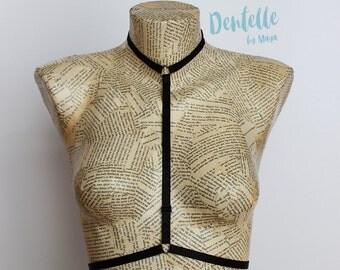 Choker Harness Bra Dee   Black harness bra with adjustable back strap   Black Lingerie   Festival Top   Exotic Dancewear   Strappy Lingerie