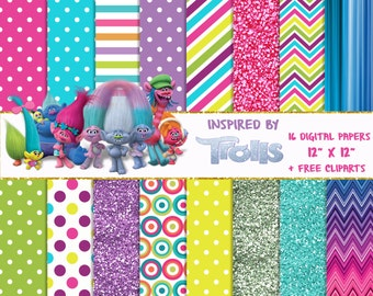 16 DIGITAL PAPERS + FREE cliparts Trolls, birthday