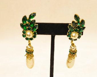 Miriam Haskell Emerald Crystals with Baroque Pearl Drop Earrings