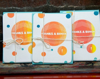Thanks A Bunch Card. A2 Thank You Cards. Geometric Circles. Handprinted Greeting Card Pack. Screenprinted Geometric Card. Orange and Blue.