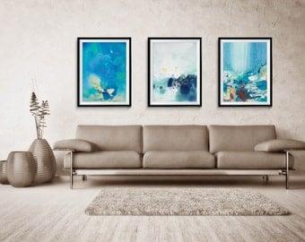 Abstract Print Set of three, Abstract, Giclee Print, Blue Abstract, Large Abstract Print, home decor, wall print, ZDQ215138